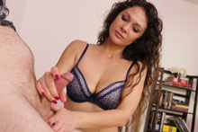 Jessica Torres is here to help but only after teasing him so much his cock twitches in agony.