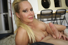 Blonde step mom gave Joey birthday handjob