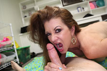 Hot mom Raquel Devine milking her step son