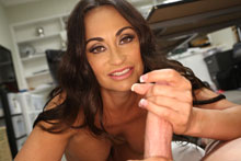 Brunette hottie mom jerking off her step son to be productive