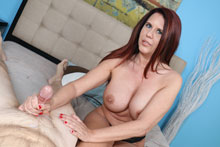 Sexy busty milf Grace milking big young cock
