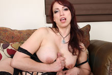 Sexy redhead milf Nicki gave handjob and titty fuck