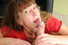 Horny milf Lilly stroking the friend of her step son