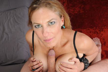 Hot step mom jerks off her step son