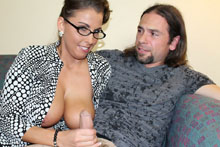 Horny milf Stacie Star stroking her daughters BF