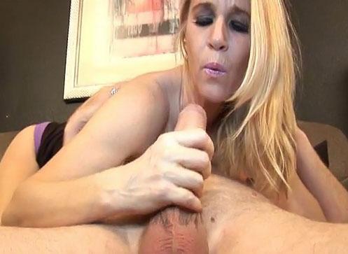 Horny blonde milf Tabatha stroking big cock